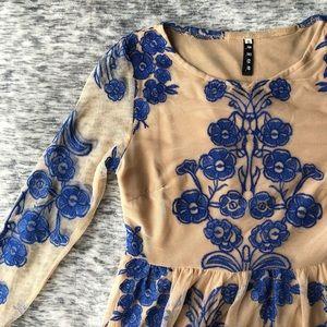Dresses & Skirts - Beige & Blue Floral Dress